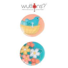 Assortiment 2 boutons oiseaux & fleurs - 34mm