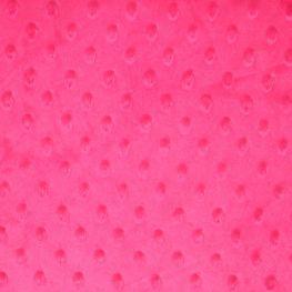 Tissu minky à pois  - Rose fuchsia