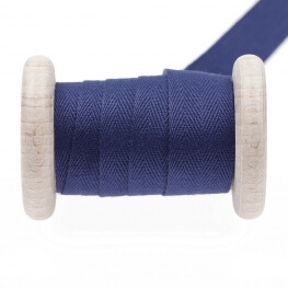 Ruban sergé coton au mètre - Bleu print
