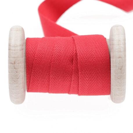 Ruban sergé coton au mètre - Rouge lollypop