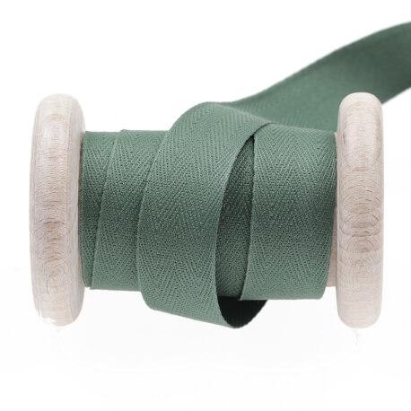Ruban sergé coton au mètre - Vert myrtle