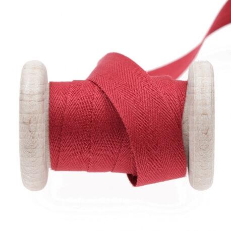 Ruban sergé coton au mètre - Rouge cardinal