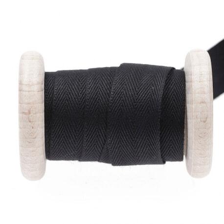 Ruban sergé coton au mètre - Noir