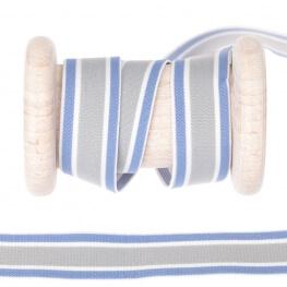 Elastique rayures 18mm au mètre - Bleu