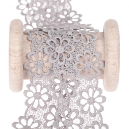 Guipure fleurie  - Gris perle