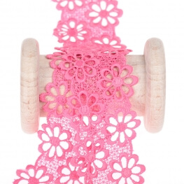Guipure fleurie  - Rose fuchsia
