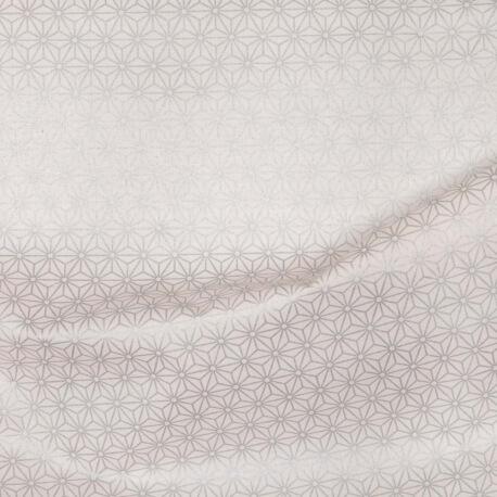 Tissu coton cretonne tokyo x50cm - Argent & blanc