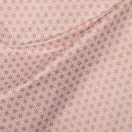 Tissu coton cretonne tokyo x50cm - Cuivre & blanc