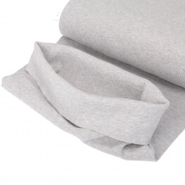 Tissu bord-côte tubulaire  - Gris chiné