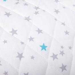 Tissu piqué de coton matelassé étoiles x50cm - Gris & turquoise
