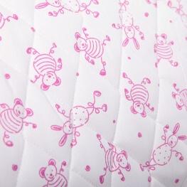 Tissu piqué de coton matelassé animaux joyeux x50cm - Rose fuchsia