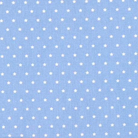 Tissu petite étoile ivoire & bleu
