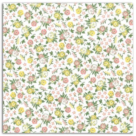 Coupon tissu coton enduit 45x53 cm - Fleuri corail & vert