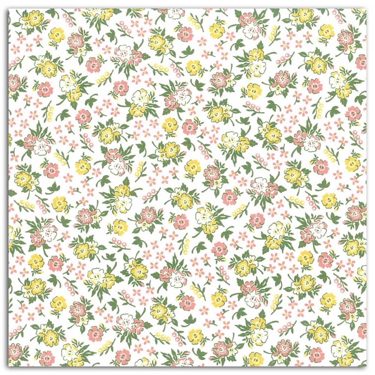 coupon tissu coton enduit 45x53 cm fleuri corail vert. Black Bedroom Furniture Sets. Home Design Ideas
