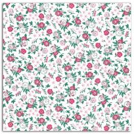 Coupon tissu coton enduit 45x53 cm - Fleuri fuchsia & rose