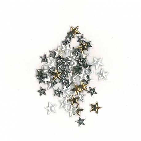 Lot 90 clous thermocollants étoiles bronze, argent et gris