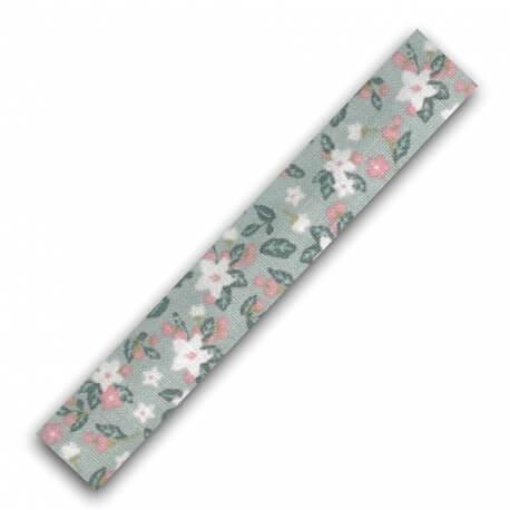 Rouleau ruban adhésif en tissu fleur et feuillage - Rose & vert amande