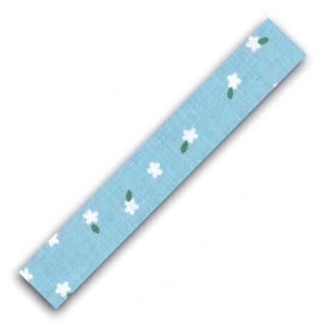 Rouleau ruban adhésif en tissu fleurs blanches - Bleu ciel