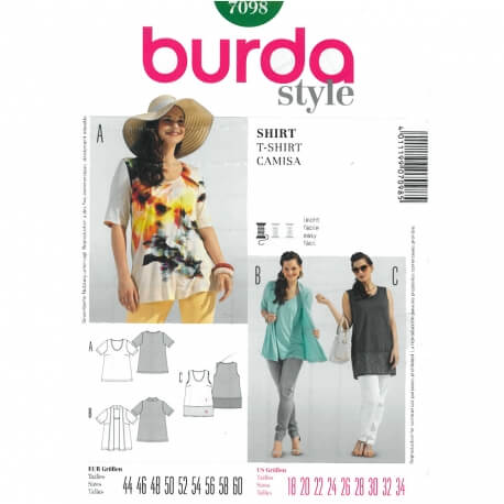Patron tops femme grandes tailles - Burda 7098