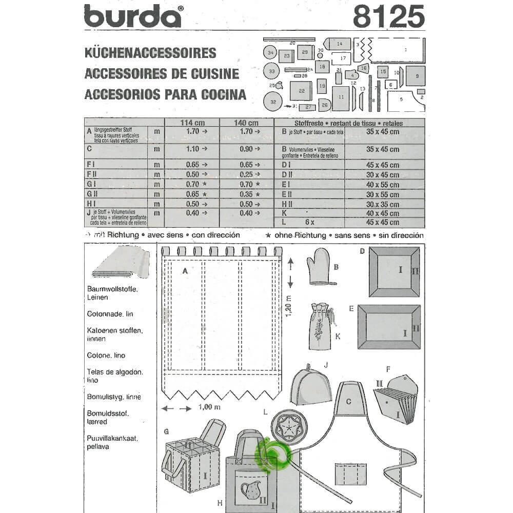 Patron d\'accessoires de cuisine, Burda 8125