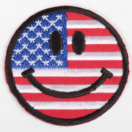 Ecusson smiley drapeau Etats Unis