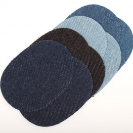 Assortiment petits renforts en jean pour coudes et genoux - Thermocollant ou à coudre - Bleu noir