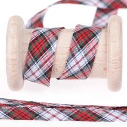 Biais écossais au mètre - Rouge, blanc, vert, bleu