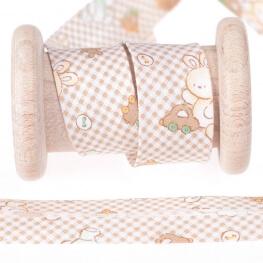 Biais coton enfant vichy & doudou au mètre - Beige