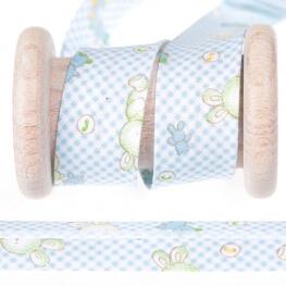 Biais coton enfant vichy & doudou au mètre - Bleu