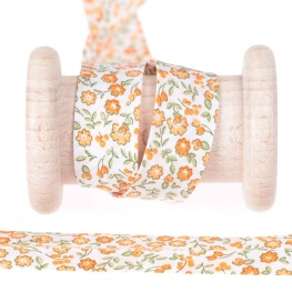 Biais fantaisie fleuri au mètre - Orange