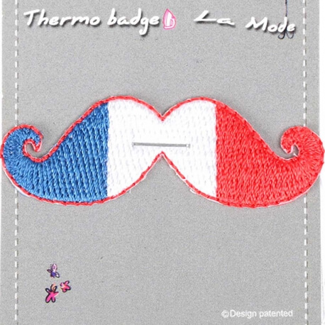 Ecusson moustache drapeau France