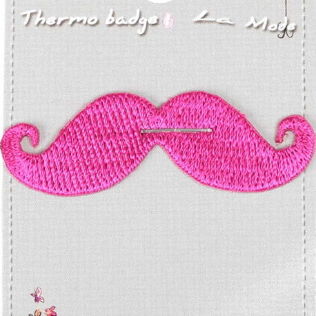 Ecusson moustache rose fuchsia