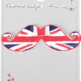 Ecusson moustache drapeau Angleterre - Union Jack