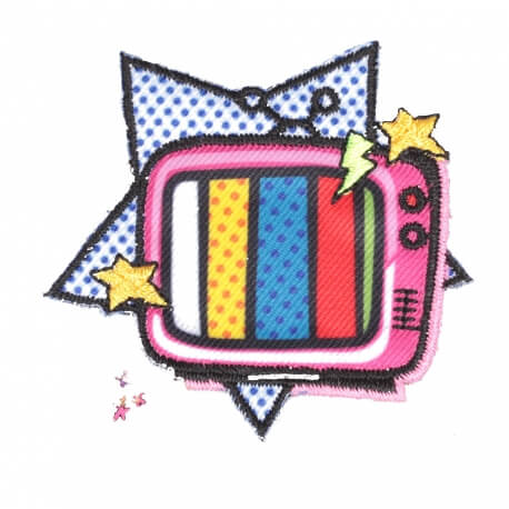 Ecusson télé & étoile - Badge cartoon pop art 90's