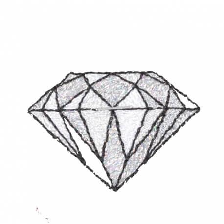 Ecusson diamant old school rockabilly - Blanc et brillant