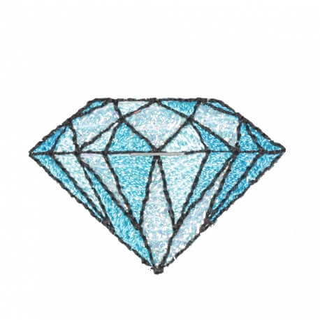 Ecusson diamant old school rockabilly - Bleu et brillant