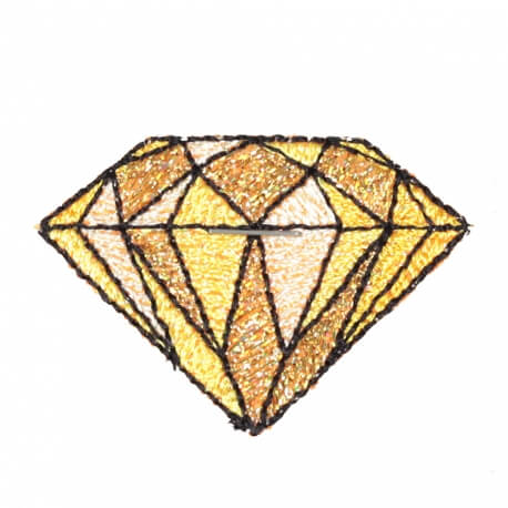 Ecusson diamant old school rockabilly - Jaune et brillant