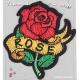 Ecusson brodé rose tattoo rockabilly