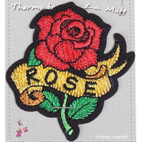 Ecusson brodé rose tattoo rockabilly