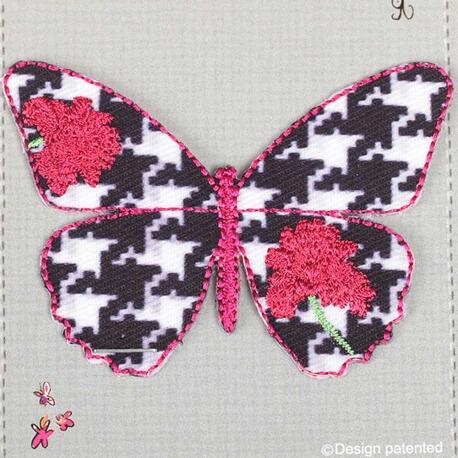 Ecusson grand papillon fleuri & motif pied de poule - Rose & noir