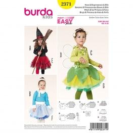 Patron déguisement enfant sorcière, princesse des glaces & elfe - Burda 2371