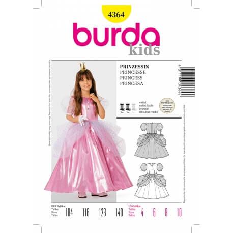 Patron déguisement enfant fille robe de princesse - Burda 4364