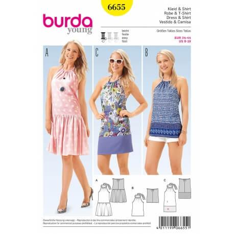 Patron robe & top femme - Burda 6655