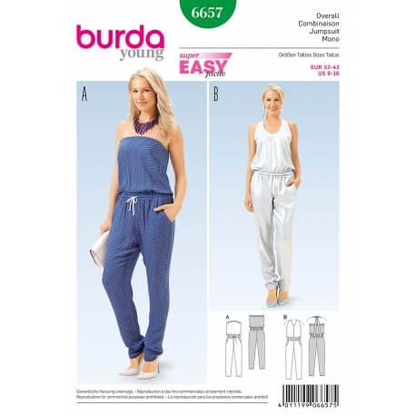 Patron combinaison pantalon femme - Burda 6657