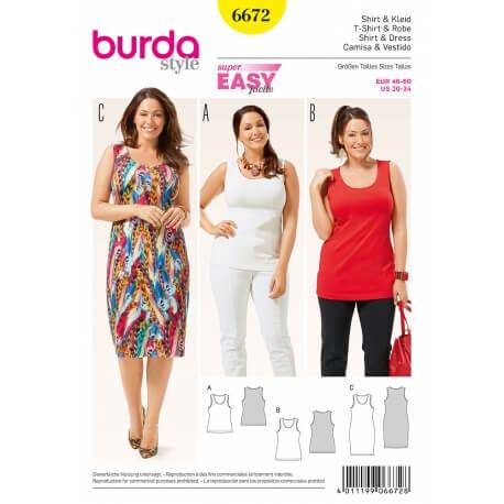 Patron robe & t-shirt femme grandes tailles - Burda 6672