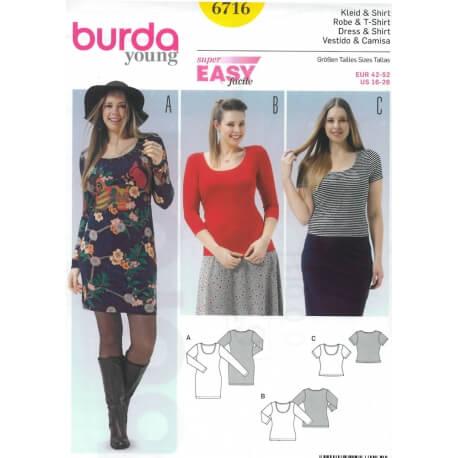 Patron robe & t-shirt femme grandes tailles - Burda 6716