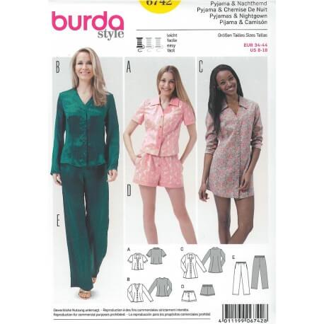 Patron de pyjama & chemise de nuit femme - Burda