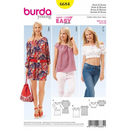 Patron robe & blouse femme - Burda 6684