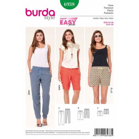 Patron de pantalon & short femme - Burda 6938