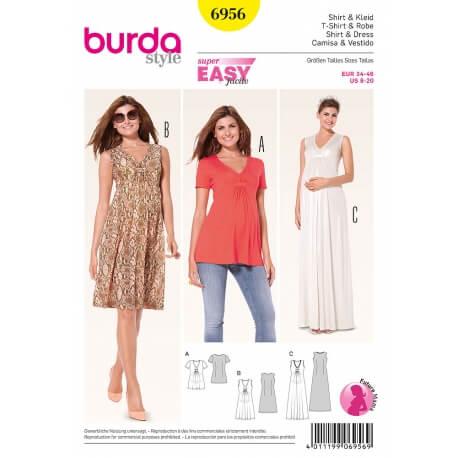 Patron robe & t-shirt femme enceinte - Burda 6956